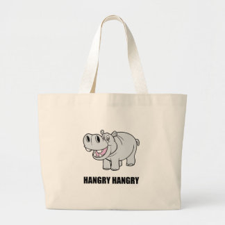 Hangry Hippo Large Tote Bag