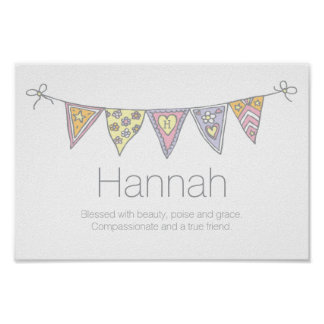 Hannah girls name and meaning bunting poster