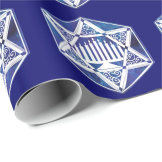 Hannukah Menorah and Star Wrapping Paper