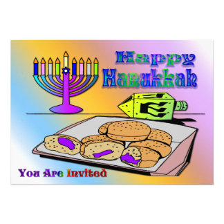 Hanukkah - Food, Dreidel, Menorah Invitation