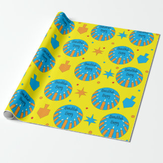 Hanukkah Happy Wrapping Paper/Orange Candles Wrapping Paper