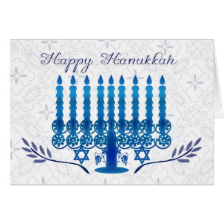 hanukkah holiday card with menorah in blue and whi