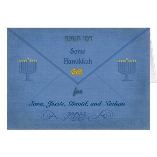 Hanukkah Money Envelope Customizable Name Greeting Cards
