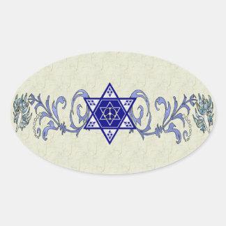 Hanukkah Peace Star Oval Sticker