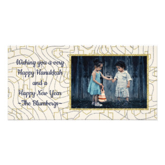 "Hanukkah Photo Card ""Stars & Dreidels"""