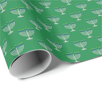 Hanukkah Silver Menorah on Green Wrapping Paper