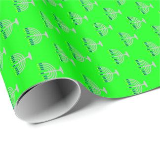 Hanukkah Silver Menorah on Lime Green Wrapping Paper