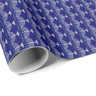 Hanukkah Silver Menorah on Navy Blue Wrapping Paper