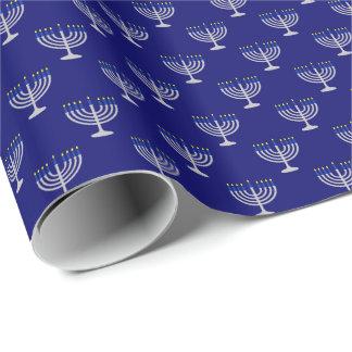 Hanukkah Silver Menorah on Navy Wrapping Paper
