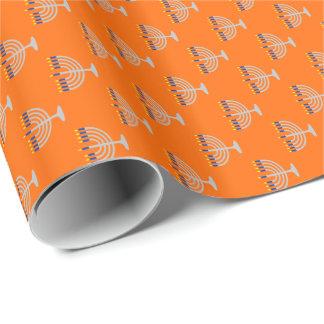 Hanukkah Silver Menorah on Orange Wrapping Paper