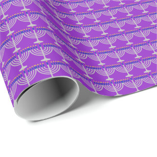 Hanukkah Silver Menorah on Purple Wrapping Paper
