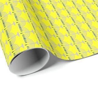Hanukkah Silver Menorah on Yellow Wrapping Paper