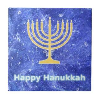 Hanukkah Snowstorm Menorah Tile