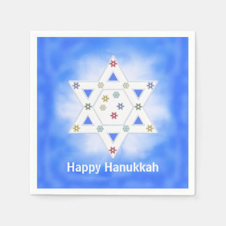 Hanukkah Star and Snowflakes Blue Paper Napkin