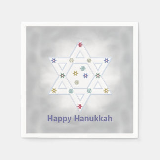 Hanukkah Star and Snowflakes Gray Disposable Serviettes