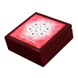 Hanukkah Star and Snowflakes Red Gift Box