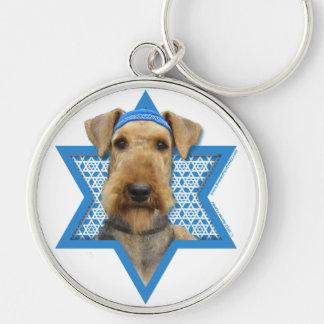 Hanukkah Star of David - Airedale Terrier Key Ring