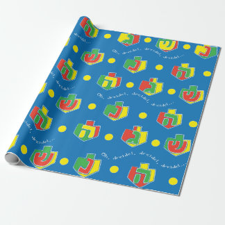 "Hanukkah Wrapping Paper ""Oh, Dreidel..."" Colorful"