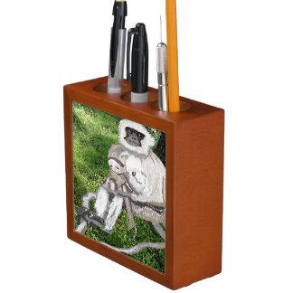 Hanuman Langur And Baby, Watercolor Desk Organiser