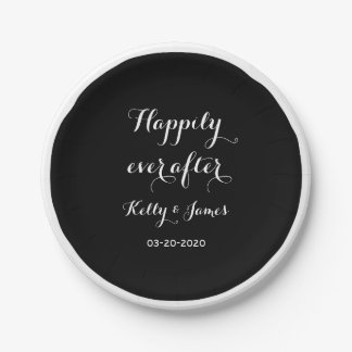"Happily Ever After 7"" Wedding Paper Plates"