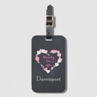 Happily Ever After Glittery Pink Hearts Bag Tag