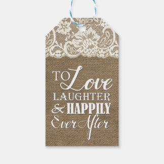 Happily Ever After Monogram Burlap Lace Wedding Gift Tags