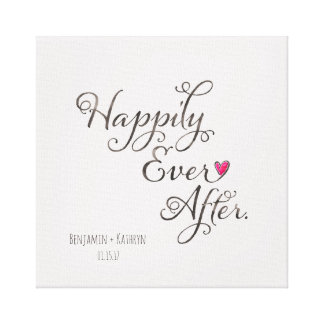"""""""Happily Ever After"""" Personalized Couples Wedding Canvas Print"""
