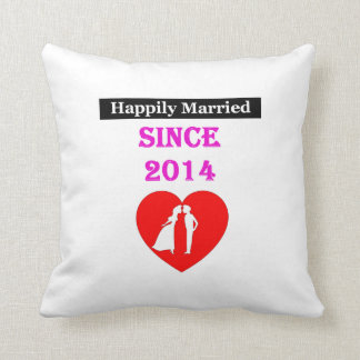 Happily Married Since 2014 Throw Pillow