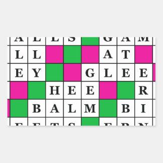 Happiness and Luck Crossword Rectangular Sticker