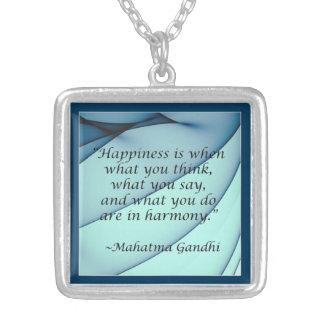 Happiness Harmony Gandhi Quote Necklace