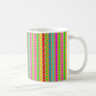 HAPPINESS in COLOR: Smiling Stripes on Golden Base Basic White Mug