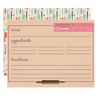 Happiness Is Homemade Recipe Cards-Cream Card