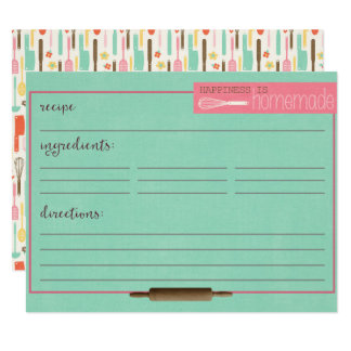 Happiness Is Homemade Recipe Cards-Teal Card