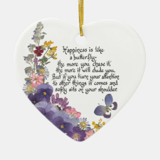 Happiness is like a butterfly christmas ornament