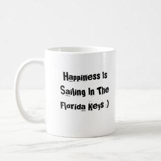 Happiness Is Sailing In The Florida Keys Basic White Mug