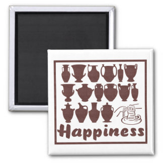 Happiness: Pottery Magnet