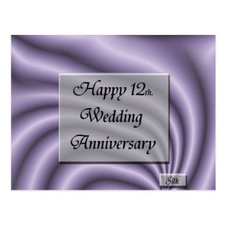 Happy12th. Wedding Anniversary Postcard