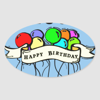 Happy 100th Birthday ballons Oval Sticker