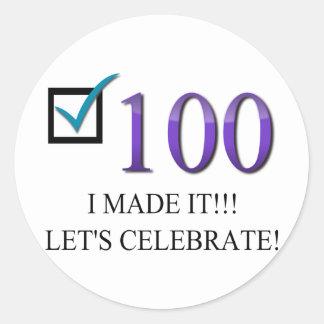 Happy 100th Birthday Classic Round Sticker