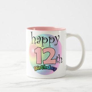 Happy 12th Birthday (pink) Two-Tone Coffee Mug