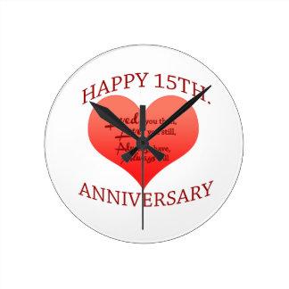 Happy 15th. Anniversary Wall Clocks