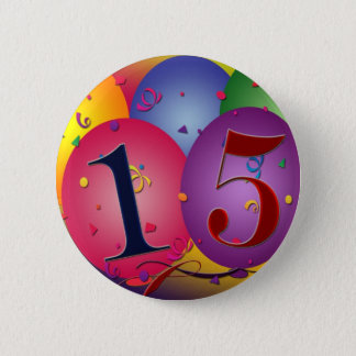 Happy 15th Birthday 6 Cm Round Badge