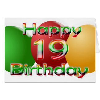 Happy 19th Birthday Balloon Card