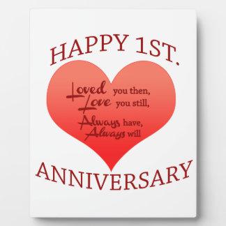 Happy 1st. Anniversary Plaques