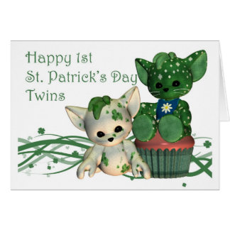 Happy 1st St. Patrick's Day Twins Greeting Card