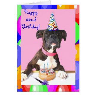 Happy 22nd Birthday Boxer dog greeting card