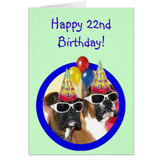 Happy 22nd birthday Boxer Dogs Greeting Card
