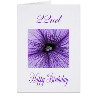Happy 22nd Birthday purple Blossom Greeting Card