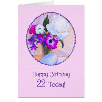 Happy 22nd birthday with a flower painting card