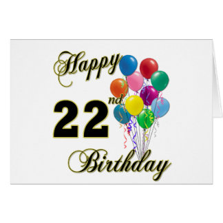 Happy 22nd Birthday with Balloons Card